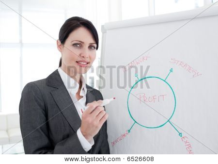 Atractive Businesswoman Giving A Presentation