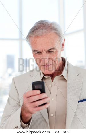 Concentrated Senior Businessman Sending A Text