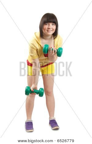 Girl In Yellow Exercising With Weights