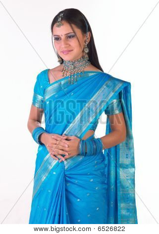 Girl with rich blue sari