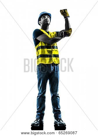 one construction worker signaling with safety vest use whipline silhouette isolated in white background
