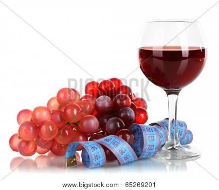 Glass of wine and measuring tape isolated on white