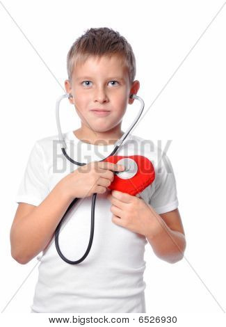 Cute Young Boy Playing Doctor