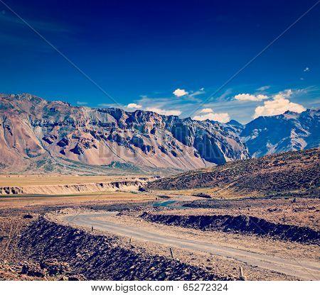 Vintage retro effect filtered hipster style travel image of Manali-Leh road to Ladakh in Indian Himalayas near Baralacha-La pass. Himachal Pradesh, India