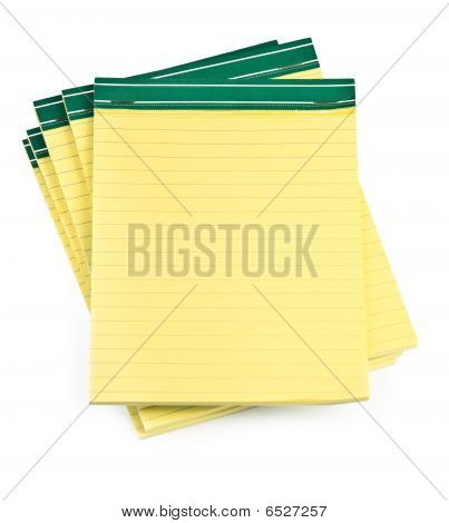 Lined Paper Notebooks On White