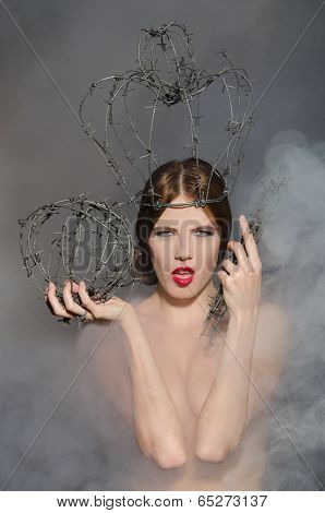 Queen In Fog With Symbols Power Of Wire