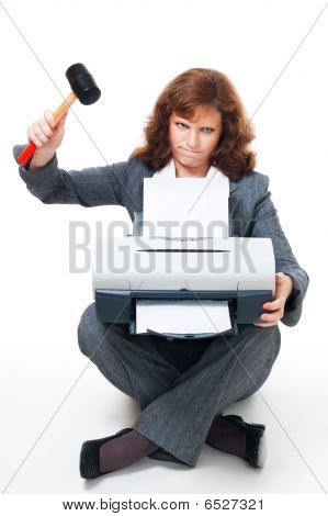 Business Woman Angry On Her Printer