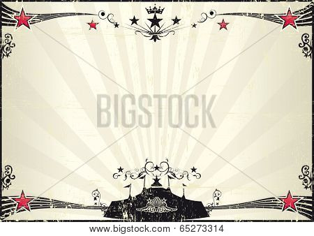 grunge horizontal circus poster. A retro grunge poster with a black big top for your show.