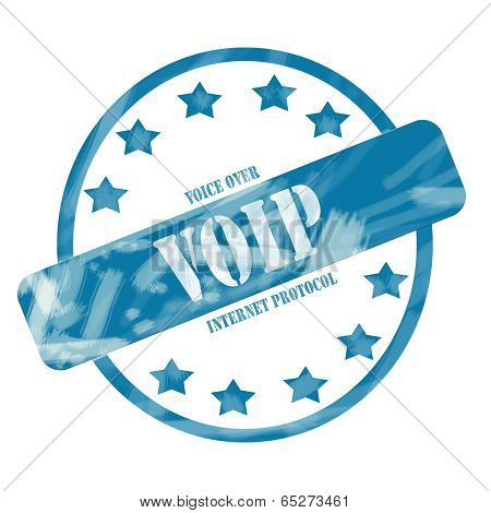Blue Weathered Voip Stamp Circle And Stars
