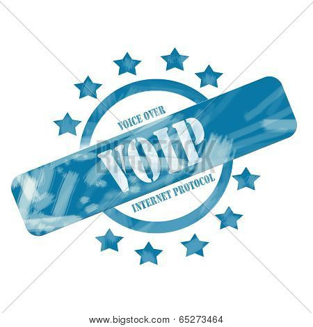 Blue Weathered Voip Stamp Circle And Stars Design