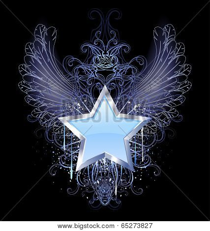 Blue Star On A Dark Background