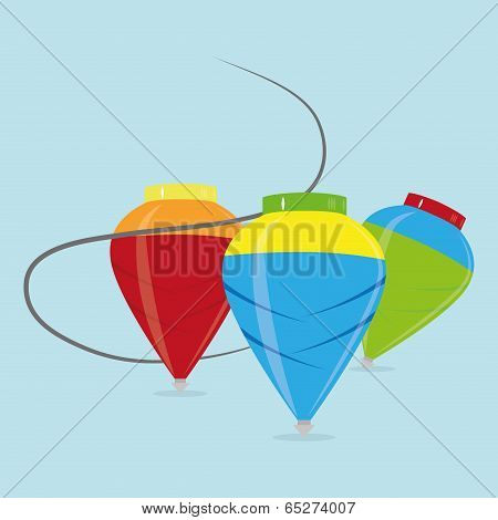 Vector Set Of Different Cartoon Spins Isolated