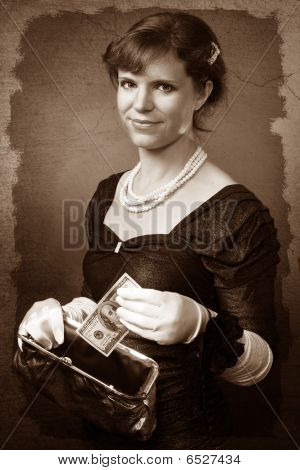 Vintage Looking Woman With Dollar And Purse