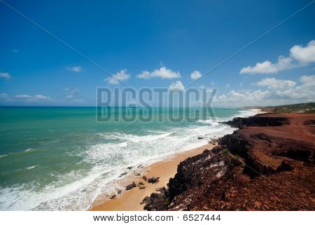 Cliffs And Beach At Praia Das Minas