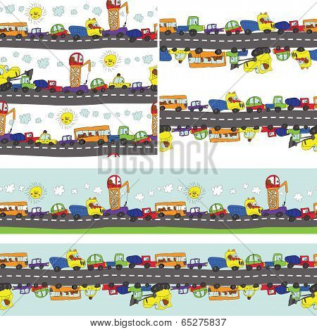 Funny Cartoon Doodle Seamless Pattern.child's Hand Draw Cars