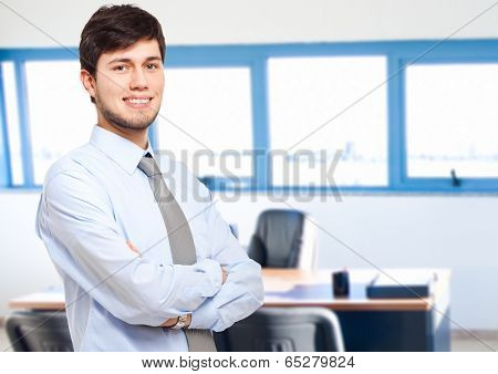 Male manager in his office