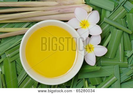Citronella Grass And Oil On Citronella Grass Leave Background