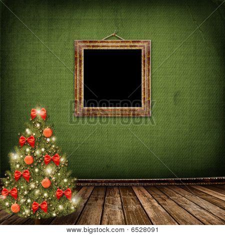 Karte für spricht seine Glueckwuensche aus. Weihnachtsbaum mit Kugeln und Bögen