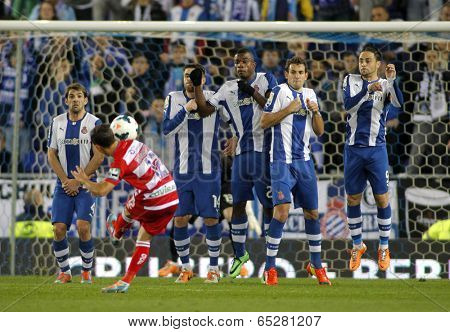 BARCELONA-APRL, 27: RCD Espanyol players on the wall of the free kick launched by UD Almeria during a Spanish League match at the Estadi Cornella on April 27, 2014 in Barcelona, Spain