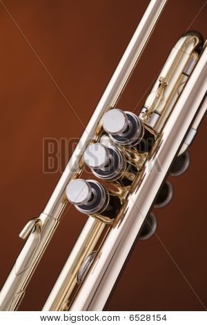 Trumpet Cornet Isolated On Gold