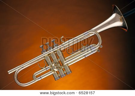 Trumpet Cornet Isolated On Yellow
