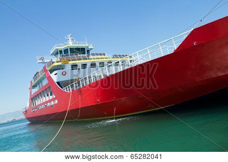 Big red passenger ferry