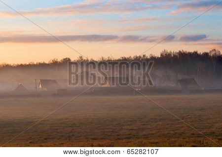 A Foggy Morning In A Typically Russian Landscape