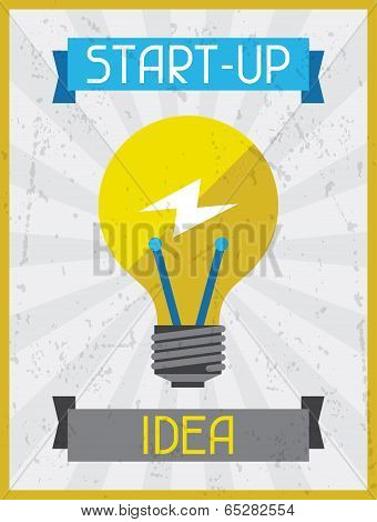 Start-up Idea. Retro poster in flat design style.