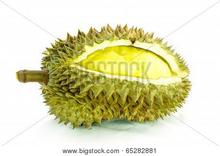 Durian Fruit On White Background