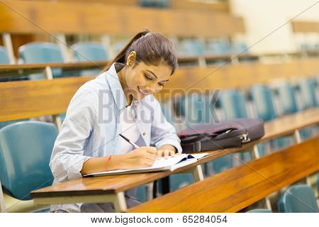 happy university student studying in lecture room