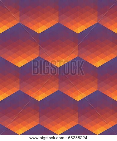 Seamless hexagon-triangle color gradient background