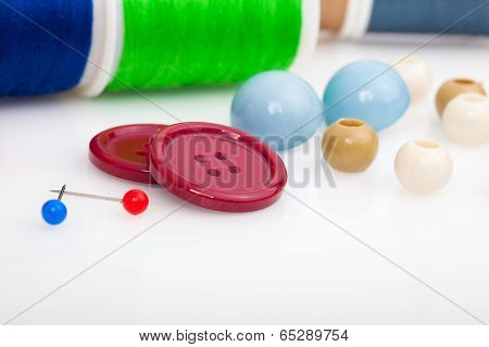 Buttons, Thread And Needle. Sewing Accessories
