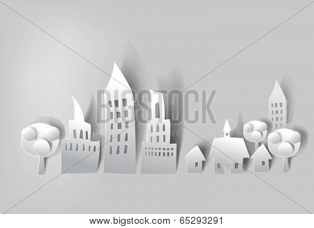 City background made of white paper