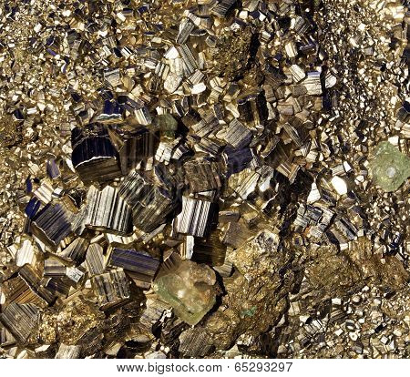 Crystals Of Pyrite Close Up