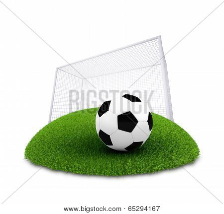 Soccer ball and gate on plot of green grass