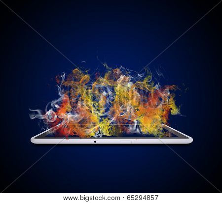Tablet pc emits colored smoke