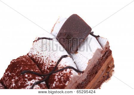 single layered chocolate cake with sphere isolated over white background