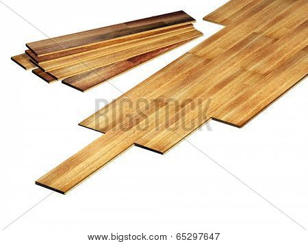 New oak parquet. Isolated on white background