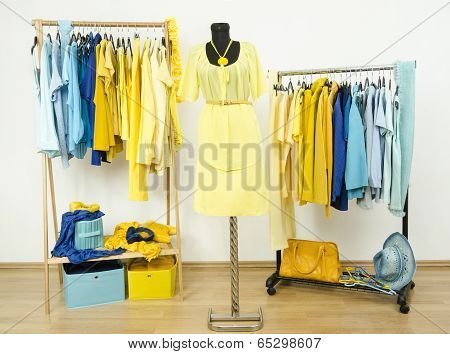 Wardrobe with yellow and blue clothes arranged on hangers.