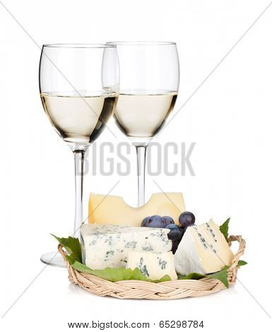 White wine, cheese and grape. Isolated on white background