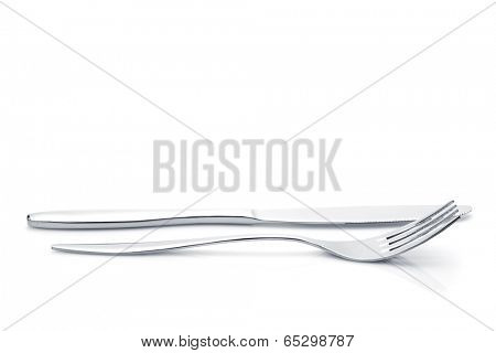 Silverware or flatware set of fork and knife. Isolated on white background