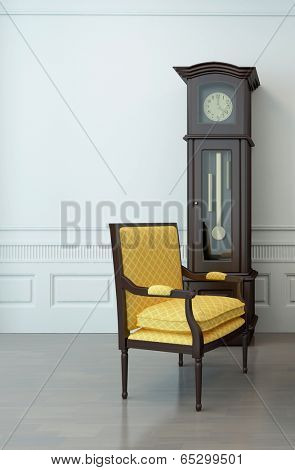 Vintage interior of an empty living room with one overhung chair and a pendulum clock