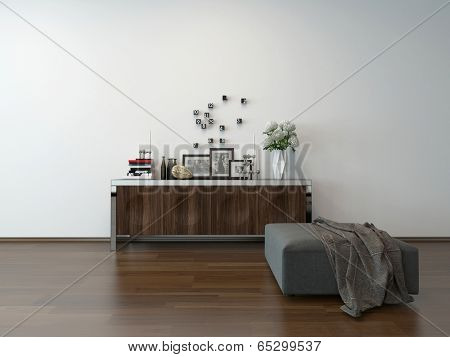 Close-up of sideboard cupboard with nice decoration