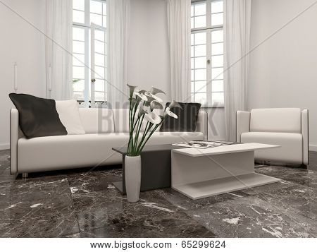 White living room interiow with bay window, couch and black marble floor