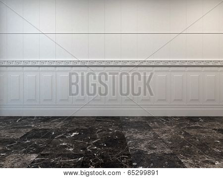 Empty room interior with a dark grey marble floor and half wood paneling on the white wall