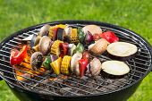 stock photo of braai  - Delicious grilled vegetarian skewers on burning coals - JPG