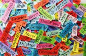 stock photo of korean  - Thank You Word Cloud printed on colorful paper different languages - JPG
