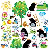 foto of working animal  - cartoon set with mole working in a garden - JPG