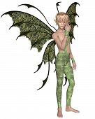picture of faerie  - Fantasy illustration of a fairy boy dressed in green leaves with green wings and blonde hair - JPG