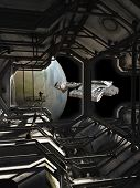 picture of fiction  - Science fiction illustration of a spaceship leaving dock watched by a space marine guard - JPG